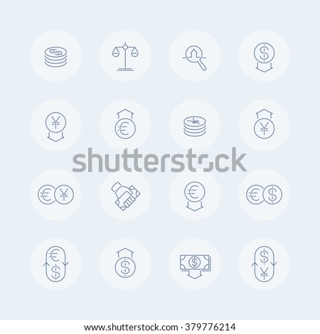 Currency, forex trading, monetary policy thin line icons, vector illustration - stock vector
