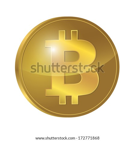 currency golden Bitcoin 3d coin signs isolated - stock vector
