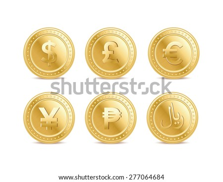 Currency golden dollar, pound, euro, yen, peso and riyal coins on the white background - stock vector