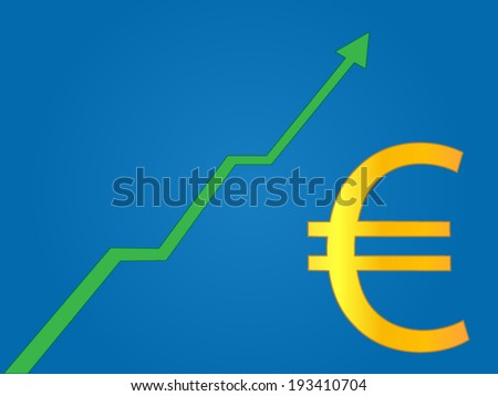 Currency Growth Euro - stock vector