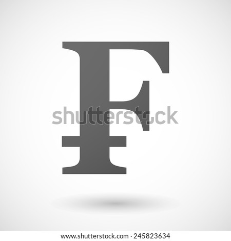 currency   icon with shadow on white background - stock vector