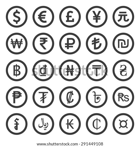 Currency Icons Set. Black over white background - stock vector