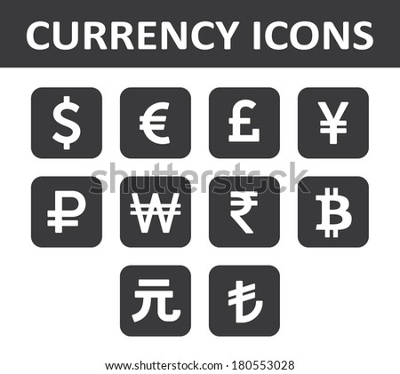 Currency Icons Set. White over black. - stock vector