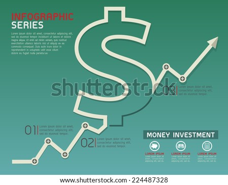 Currency Rising Line Diagram Template Vector - stock vector