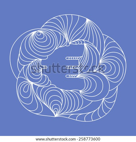 Currency sign. Euro. Blue background. - stock vector