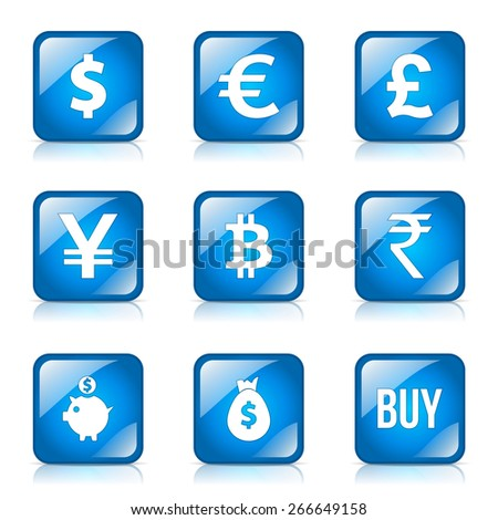Currency Sign Square Vector Blue Icon Design Set - stock vector