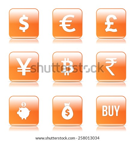 Currency Sign Square Vector Orange Icon Design Set - stock vector