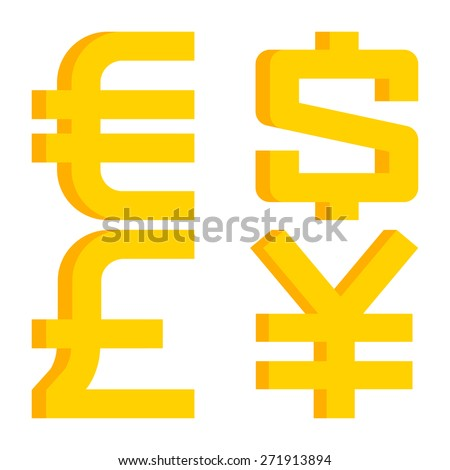Currency signs euro, dollar, pound sterling, yen - stock vector