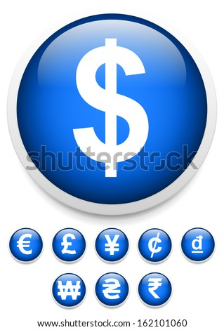 Currency signs, symbols vector - stock vector