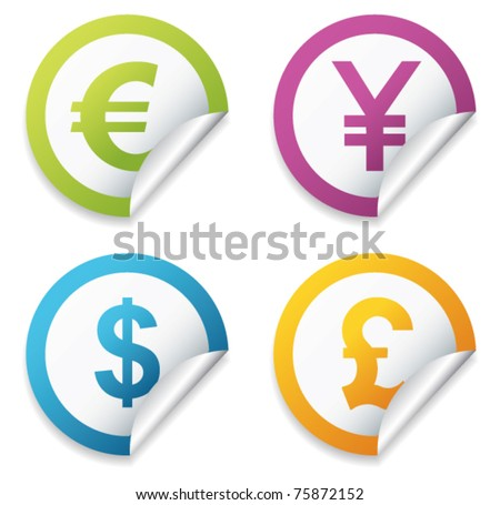 Currency stickers sign. Vector - stock vector
