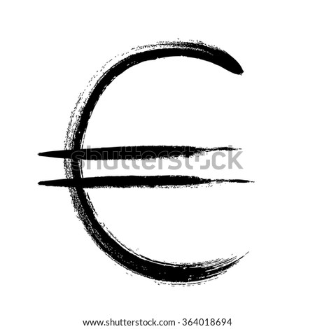 Currency symbol hand drawn vector illustration. Euro sign.