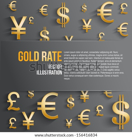 Currency symbol in gold color with space for text. Background about the money and the exchange rate. Business vector Illustration, isolated and editable. - stock vector