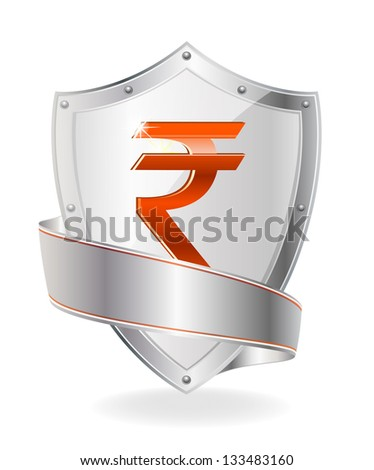 Currency symbol on the shield - stock vector