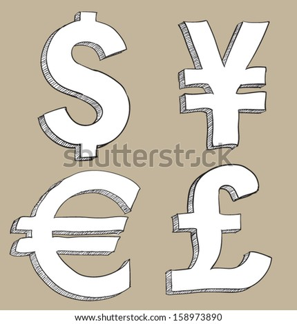 Currency symbol set including euro, dollar, yen, pound.  - stock vector