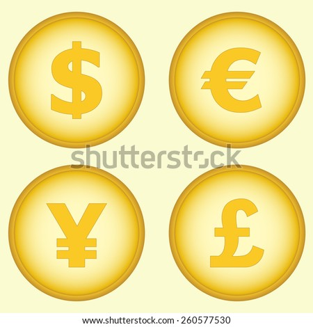 Currency symbols and money coins. Dollar, euro, yen and pound buttons. Stock and finance design elements. Vector illustration. - stock vector