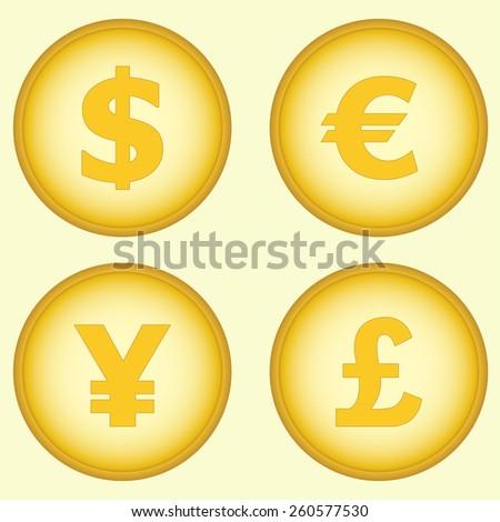 Currency Symbols Money Coins Dollar Euro Stock Vector 260577530