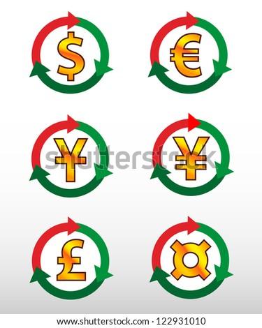 Currency symbols: dollar, euro, pound, yuan, yen. - stock vector