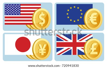 Currency Symbols Dollar Euro Yen Pound Stock Vector 720941830