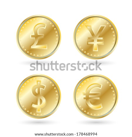 currency symbols, gold coin. dollar, yen, euro, pound sterling - stock vector