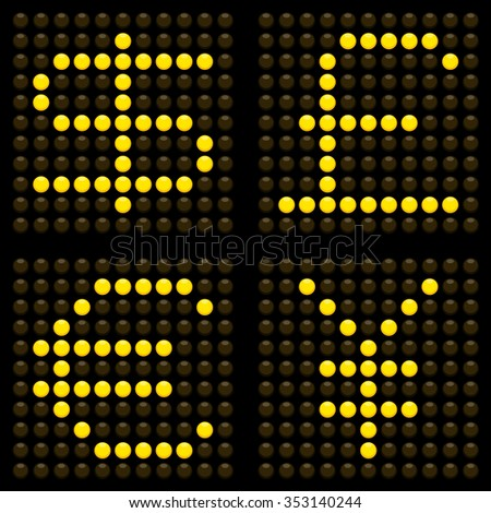 Currency Symbols On a LED Dot Display. EPS8 Vector