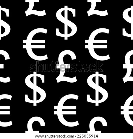 Currency symbols seamless pattern on black background. Vector illustration.