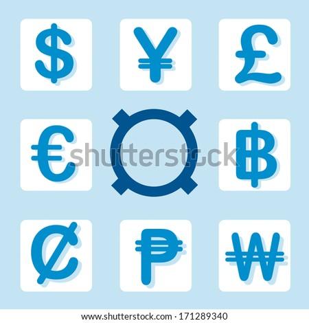 currency symbols Vector set - stock vector