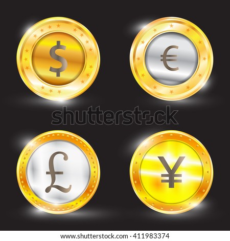 Currency - the dollar - the euro - pound sterling - Yen. Vector illustration - stock vector