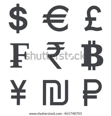 Currency Vector Icon Set Isolated On White Background Collection Of Symbols Dollar