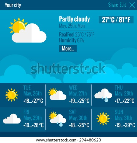 Current weather condition and meteorological forecast web text and symbol interface flat color concept vector illustration - stock vector