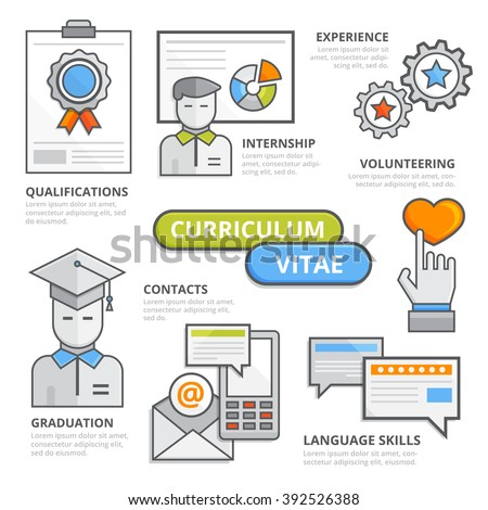 Curriculum vitae design concept, flat line design elements of qualifications, internship, experience, contacts,graduation,volunteering, skills, job application. CV illustration, Infographic template. - stock vector