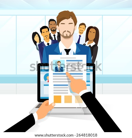 Curriculum Vitae Recruitment Candidate Job Position, Hands Hold CV Profile Choose from Group of Business People to Hire Interview Vector Illustration - stock vector
