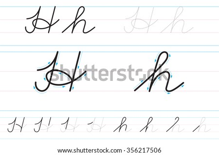 Cursive letters learning write hh stock vector 356217506 shutterstock cursive letters for learning to write hh expocarfo Images