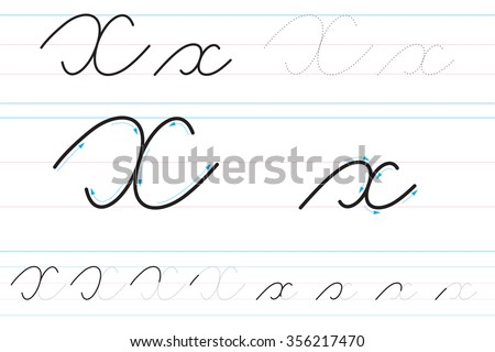 Cursive letters learning write xx stock vector 356217470 shutterstock cursive letters for learning to write xx expocarfo Images
