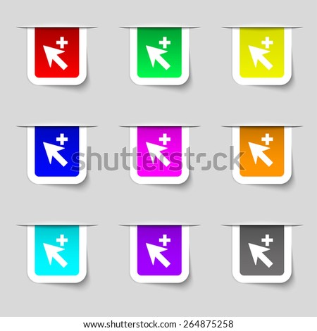 Cursor, arrow plus, add icon sign. Set of multicolored modern labels for your design. Vector illustration - stock vector
