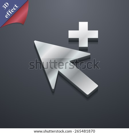 Cursor, arrow plus, add  icon symbol. 3D style. Trendy, modern design with space for your text Vector illustration - stock vector