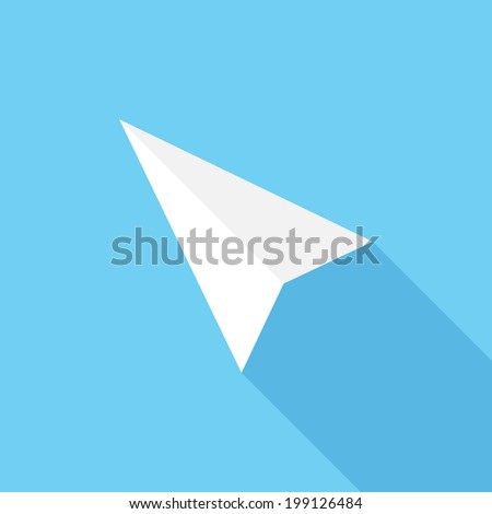Cursor (computing) icon. Flat design style modern vector illustration. Isolated on stylish color background. Flat long shadow icon. Elements in flat design.