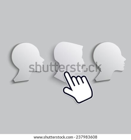 cursor hand icon chooses the men among woman  - stock vector