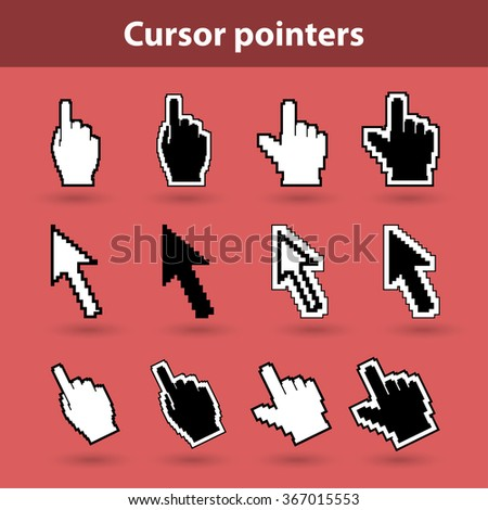 Cursor pointers of mouse arrow and pixel hands on red background. Classic vector illustration pixel web icons.