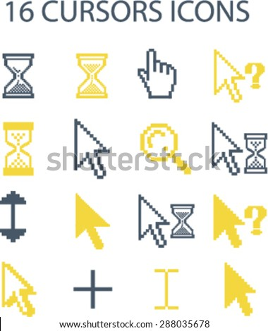 cursors, select icons, signs, illustrations set, vector - stock vector