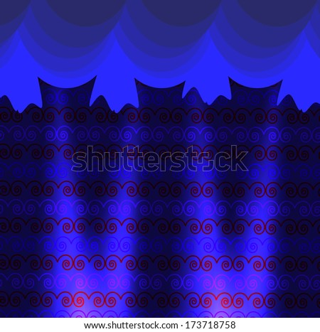 Curtain background with spotlights - stock vector