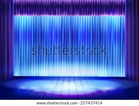 Curtain before the performance. Vector illustration. - stock vector