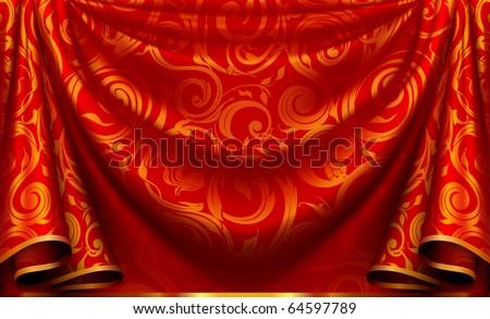 Curtain pattern - stock vector