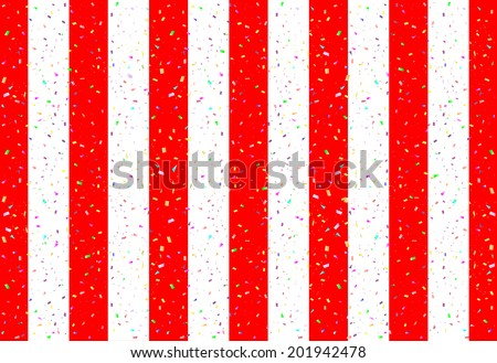 curtain with red and white vertical stripes - stock vector