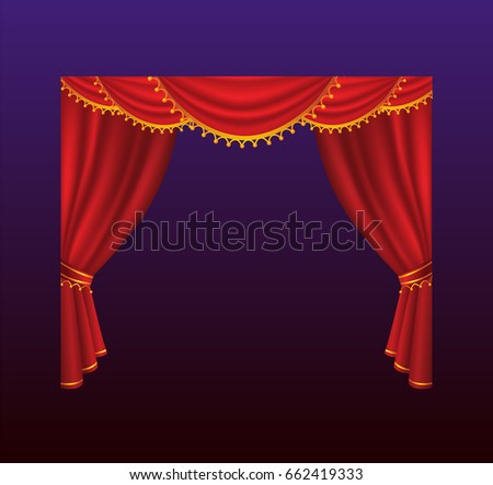 Curtains - realistic vector red drapes. Gradient background. High quality clip art for presentations, banners, flyers, depicting cinema, concert and prize award illustrations.