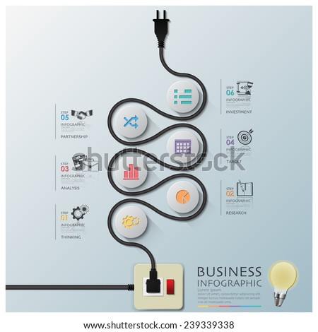 Curve Electric Wire Line Diagram Business Infographic Design Template - stock vector