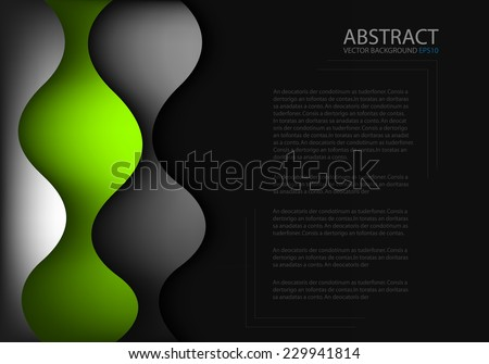 Curve wave green line background with silver grey curve line on black space paper layer overlap for text and message modern artwork design - stock vector