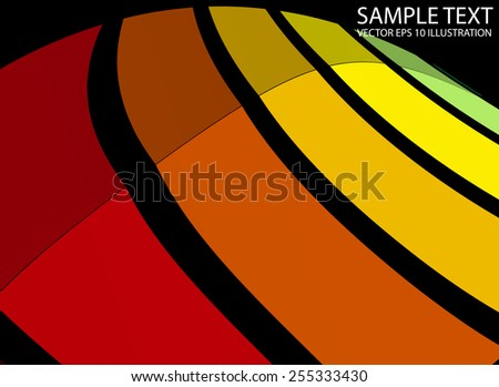 Curved abstract colorful background illustration - Vector colorful abstract striped  background template - stock vector
