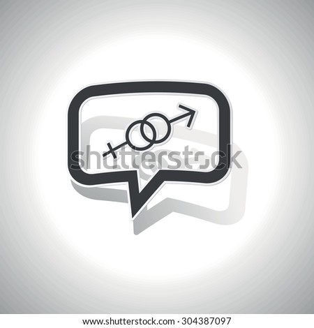 Curved chat bubble with gender signs and shadow, on white