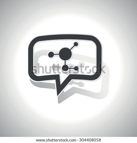 Curved chat bubble with molecule and shadow, on white - stock vector