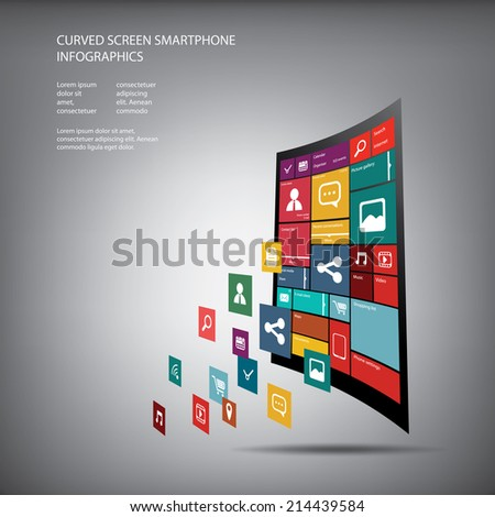 Curved display smartphone with flat design user interface with space for text suitable for infographics or advertisement. Eps10 vector illustration. - stock vector